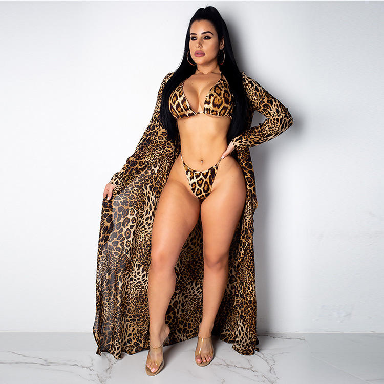 Wholesale sexy Leopard Print Bikini two piece Swimwear bodysuit Women beach Sleeveless kimono Long Chiffon Coverup Drop Shipping