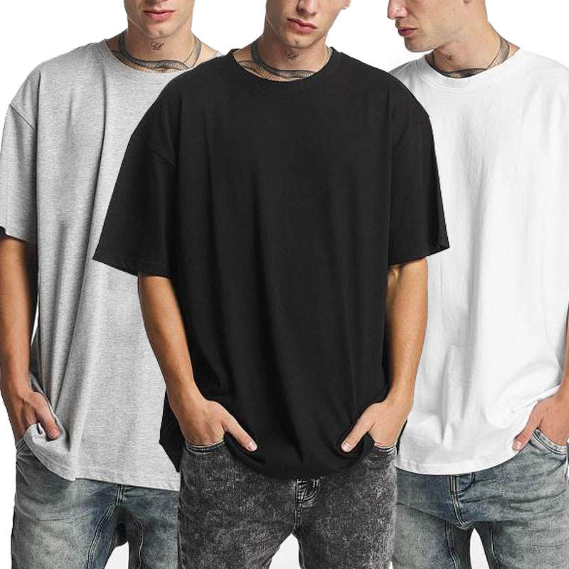 Wholesale Clothing Plain Raglan Sleeve Mens Oversize Hip Hop Long T-shirts Loose Collar Longline T shirt Men