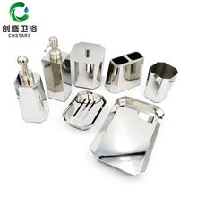 stainless steel 7 piece bath soap dispenser  fitting toilet brush sublimation hardware bathroom accessory full  set for hotel