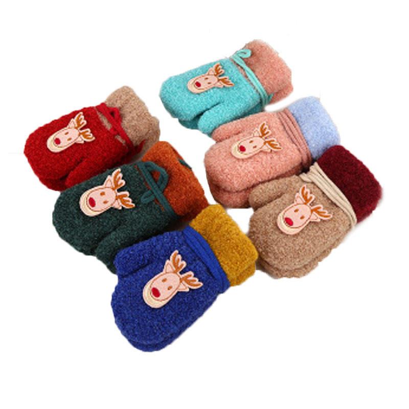 2018 meilleur vente chauds pour l'hiver gants tricotés De Noël styles personnalisés en plein air ski bébé enfants double épais