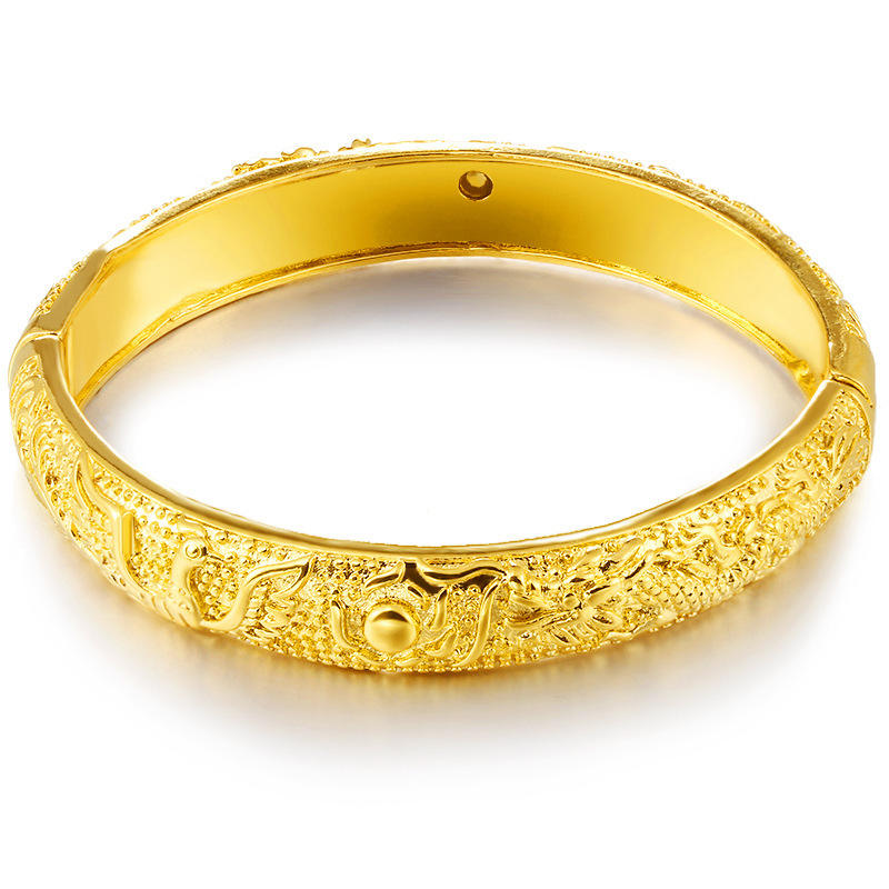 Alluvial gold bracelets Gold Color dragon phoenix Good Lucky Auspicious bangle women wedding jewelry