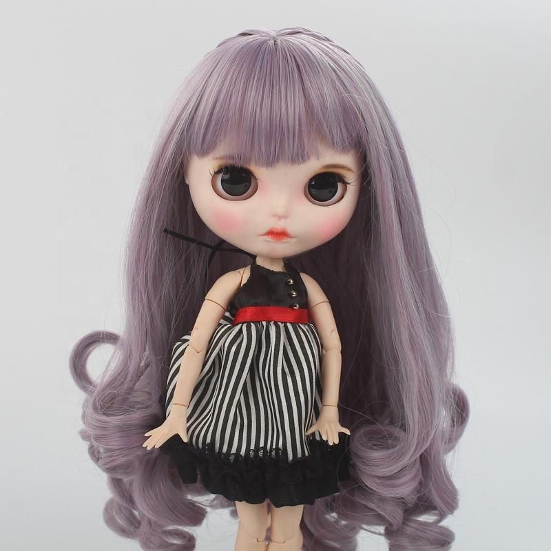 High quality chinese factory cheap price blythe doll purple grey long curly hair