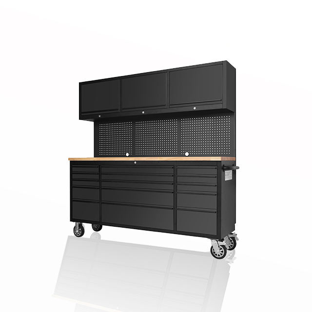 new design professional SS garage cabinet / garage storage/ tool trolley with stainless rubber wood top tools