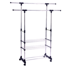 High Quality Stainless Steel Clothes Drying Hanging Rack Expanding Double Pole Clothes Drying Rack