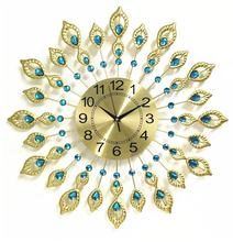Diamond Decoration Metal Design Crystal Peacock Luxury Wall Clock Home Decoration