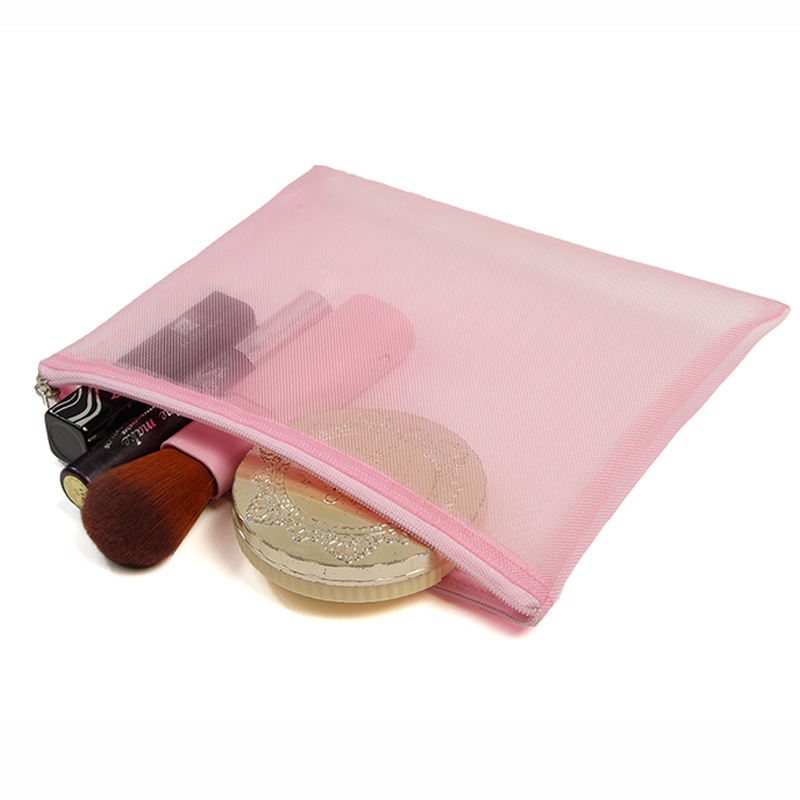 Wholesale Customized Pink Mesh Nylon Transparent See Through Cosmetic Makeup Organizer Zipper Bag
