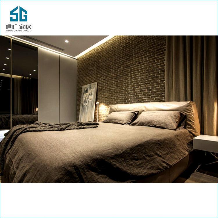 Type économique de taille de roi d'hôtel double cadre en bois de lit de meubles de <span class=keywords><strong>chambre</strong></span> à coucher en bois