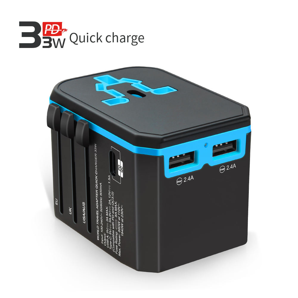 World travel 어댑터 Socket Plugs Multi USB 33 W PD 퀵 charger