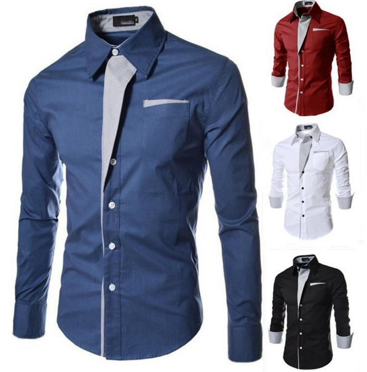 2020 wholesale Fashion branded Long Sleeve Shirt Men Slim Design Formal Casual Shirt Men