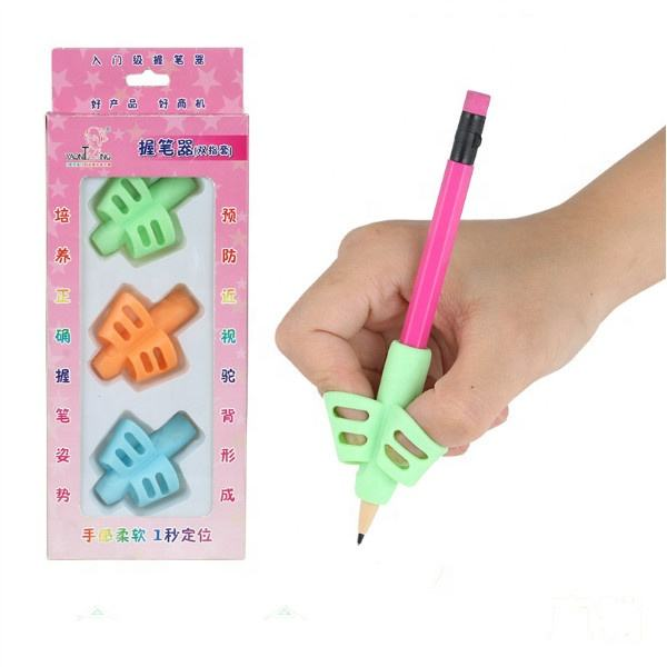 Wholesale kids pencil grip holder Silicone pencil grip for correcting kids handwriting gestures