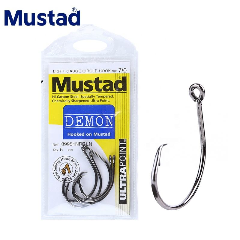 MUSTAD 39951# fishing hooks demon circle high carbon steel Jigging Hook strong rust proof sea carp anzuelos pesca Norway