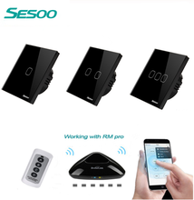 SESOO EU/UK Standard 1 2 3 Gang Wireless power 220v Remote Control Light Switches, RF433 Remote Touch Wall Switch for Smart Home