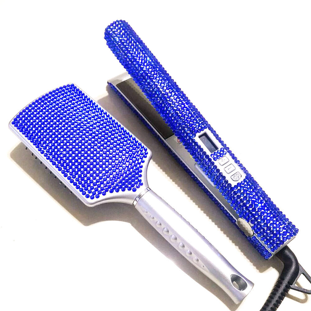 crystal hair staiqhtener flat iron and hair brush