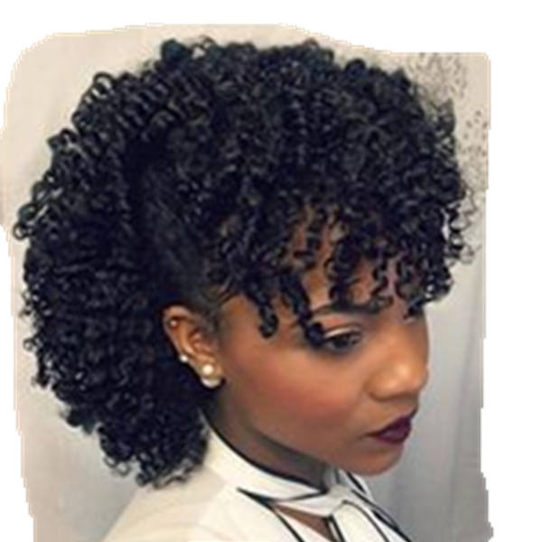 kinky natural afro puff clip in human hair ponytail with bangs