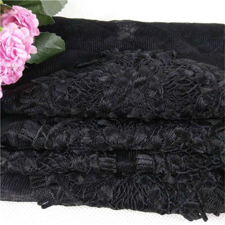 Black Embroidery Round Tulle Mesh 3D Lace Fabric For Evening Dress
