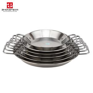 zhongte High quality factory price stainless steel cooking pot seafood paella pan with two handle