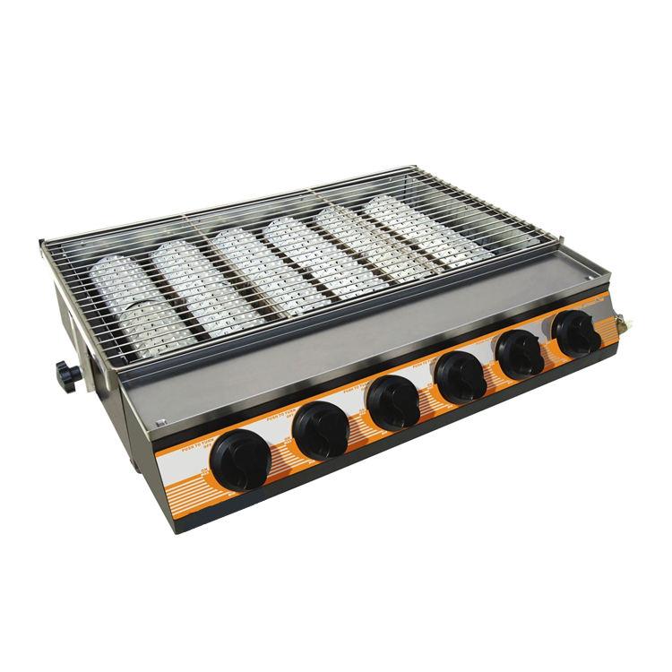 Hot Sale Heavy Duty Barbecue Grill Kitchen Equipment Gas Grill With 6 Big Burners Gas Grill