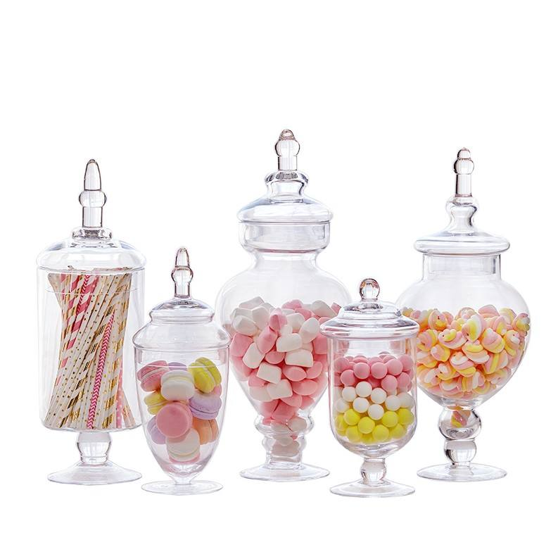Wholesale Footed Clear Glass Apothecary Jars for Weddings Candy Buffet Decoration