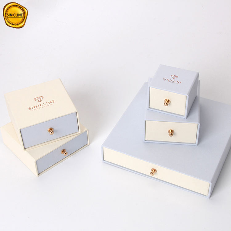 Sinicline square paper jewelry box custom logo printed for gift with velvet insert
