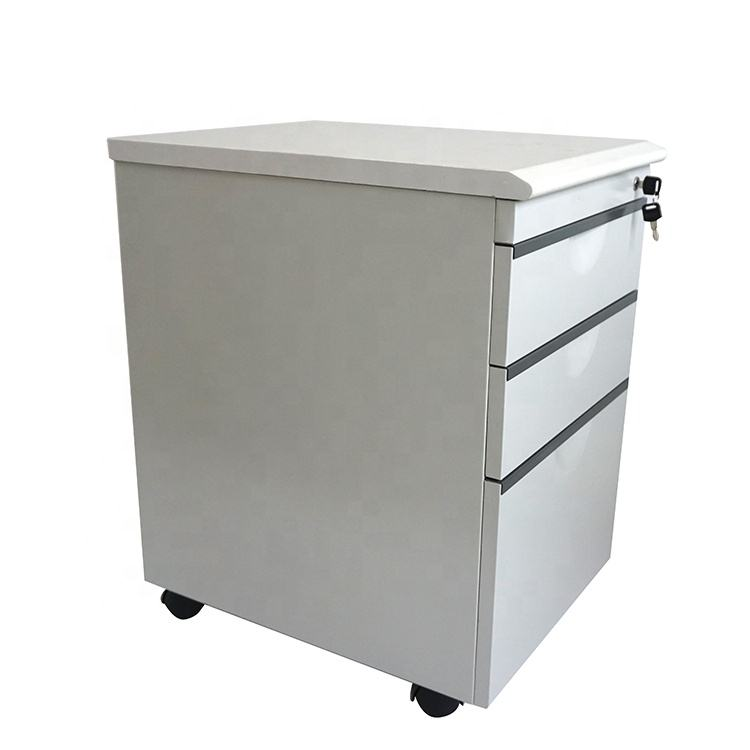 Office working use metal 3 drawers legal movable file cabinet with wheels