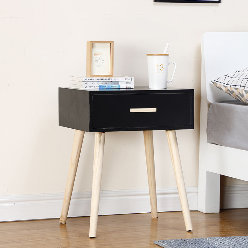 Bedside Table Solid Wood Legs Nightstand with Black Storage Drawer