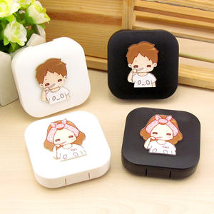 Leuke Groothandel Mode DIY Custom Contactlenzen Case Eenvoudige Cartoon Lens Case Mate Jongens Meisjes Contact Travel Kit