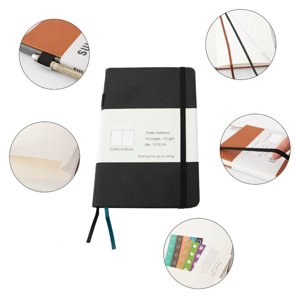 HB01 2019 Custom A5 Hardcover Bisnis Kulit PU Diary Planner Notebook