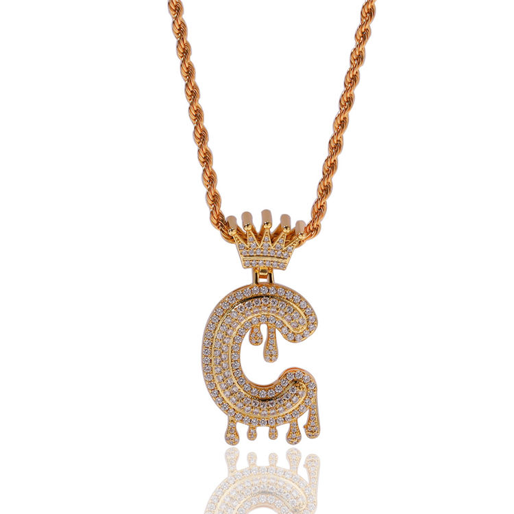 European New Personalized Hips Hops Iced Out Pave Bling CZ Drips Initial Letter Pendant Necklace