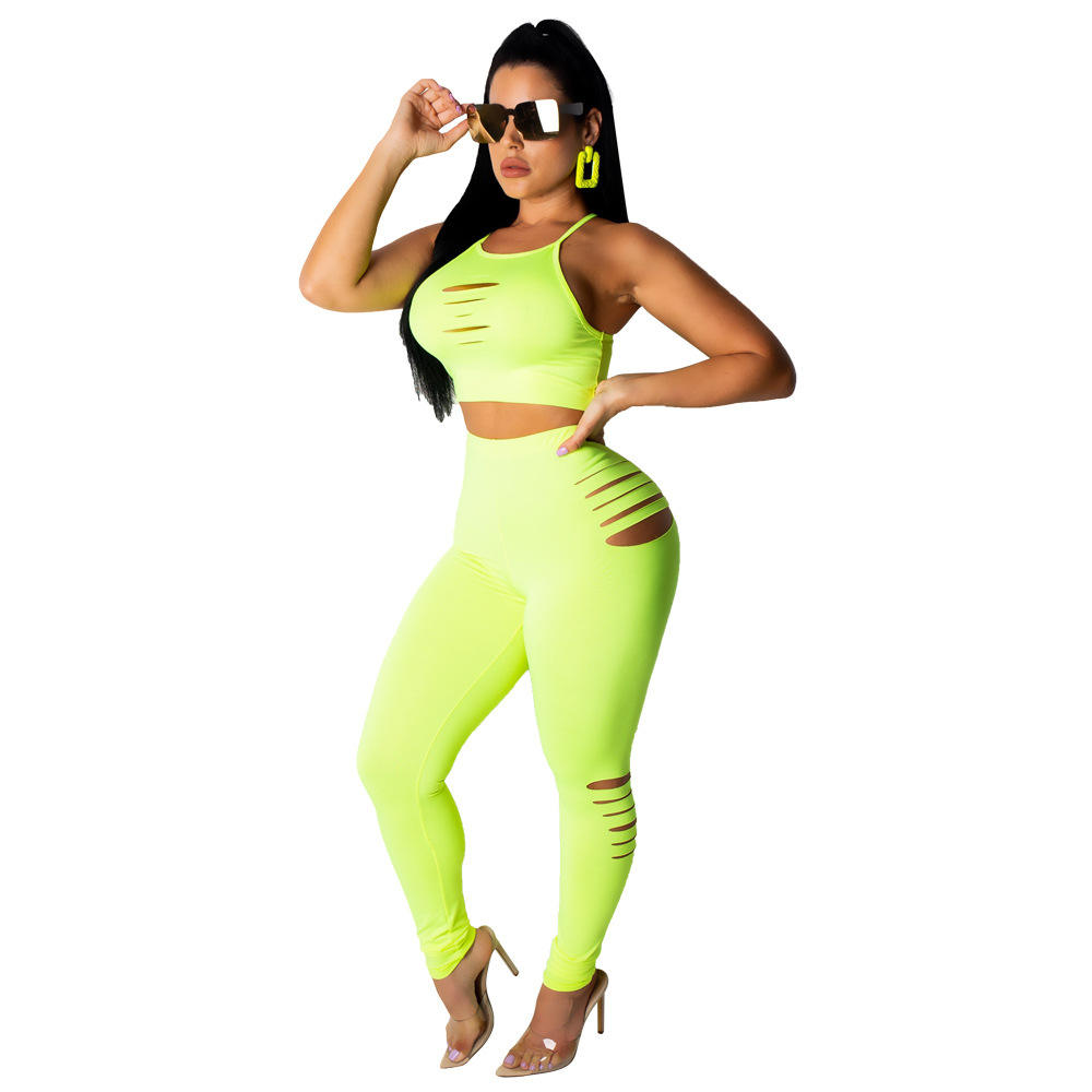 Catching Green Two Pieces High Waist Ankle Length Sleeveless Sweat Suit For Women