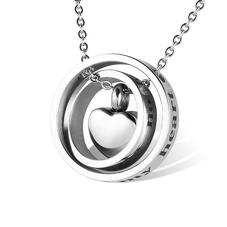 Marlary Stainless Steel Personalized Custom Round Always In My Heart Urn Jewelry Cremation Ashes Pendant