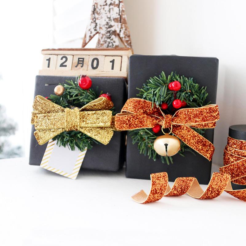 "5 Yards Reversible White Metallic Shiny Gold Christmas Woven Ribbon 1 1//8/""W"