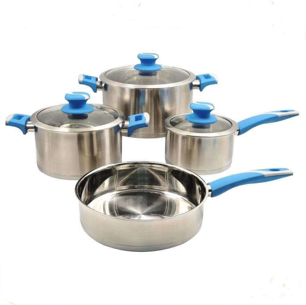 MSF 7pcs Stainless Steel Kitchen Cookware Set Glass With SS Lid MSF-3973