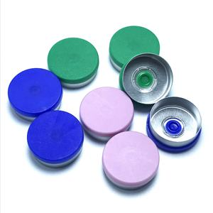 Aluminium and plastic flip tear off vial caps with rubber stopper for medicine vials