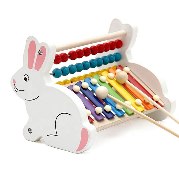 Preschool Rabbit Wooden Animal Lovely Xylophone Music Toy Kids