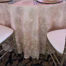 "132""ROUND WHITE LACE ROPE TABLE COVER WITH BEAUTIFUL FLOWER ON STIFF MESH FOR WEDDING AND RESTAURANT"