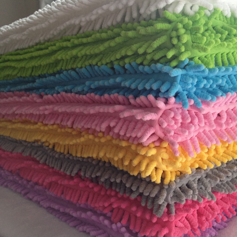 wholesale high quality 100% polyester microfiber chenille jacquard shaggy fabric for carpet
