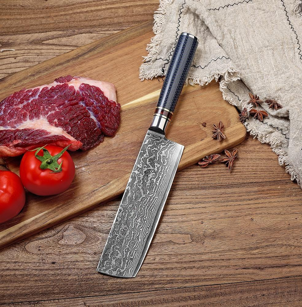 Nakiri Usuba Knife Damascus Steel 7 Inch Forged Slicer Kitchen Utility Vegetable Knife