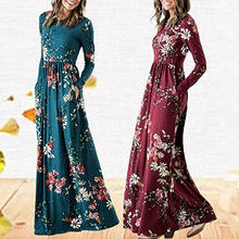2019 Floral Long Cotton Dresses For Women Lady Spring Summer Long Casual Dress Female