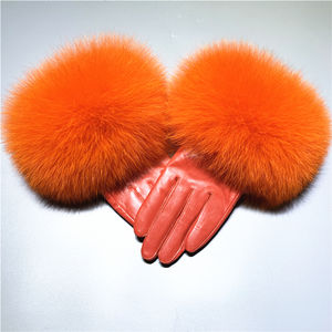 High Quality Fox Fur Finger Gloves Warm Winter Genuine Leather Driver Gloves /Sheep Skin Ladies Leather Gloves