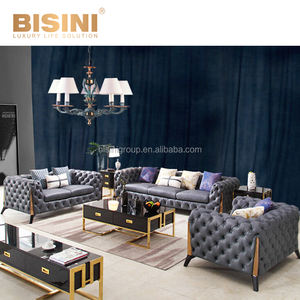 Mewah Post-Modern Gaya Italia Chesterfield Golden Stainless Steel Framed Biru Sofa Set BF12-04256a