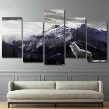 5d diamond painting animal mountains Gray Wolf  5 panel canvas art