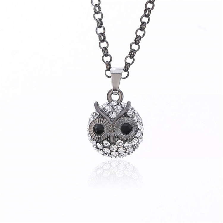 Retro Small Owl Pendants Necklace Crystal Pendant Long Chain Tiny Necklace Women's Jewelry