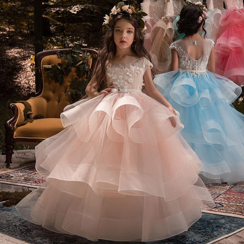 ZH1169B High quality Tulle butterfly princess Dresses illusion Gowns Kids Wedding flower baby girl wedding dress