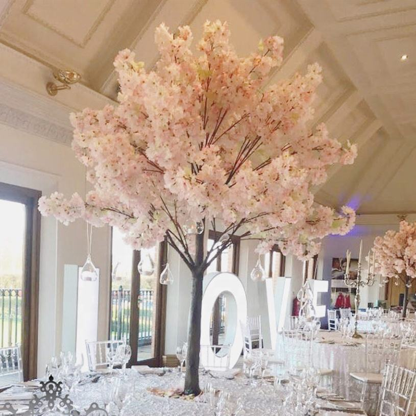 wedding table centerpieces pink artificial cherry blossom tree/artificial wedding tree