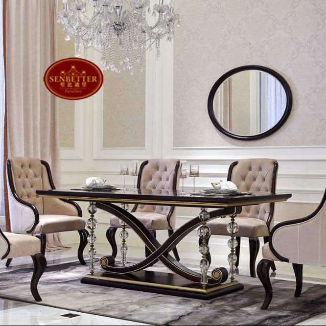 0071 luxury wooden dining table set, crystal dining table seats 12