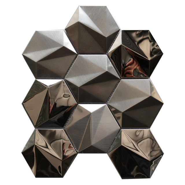 3D Gold Mirror Hexagon Metal Stainless Steel Mosaic Tile for Wall Panels