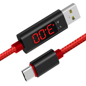 Wholesale Fashion Design LCD Data Display Voltage Curent 3A Fast Charging Charge Braided Automatic Switch USB Cable