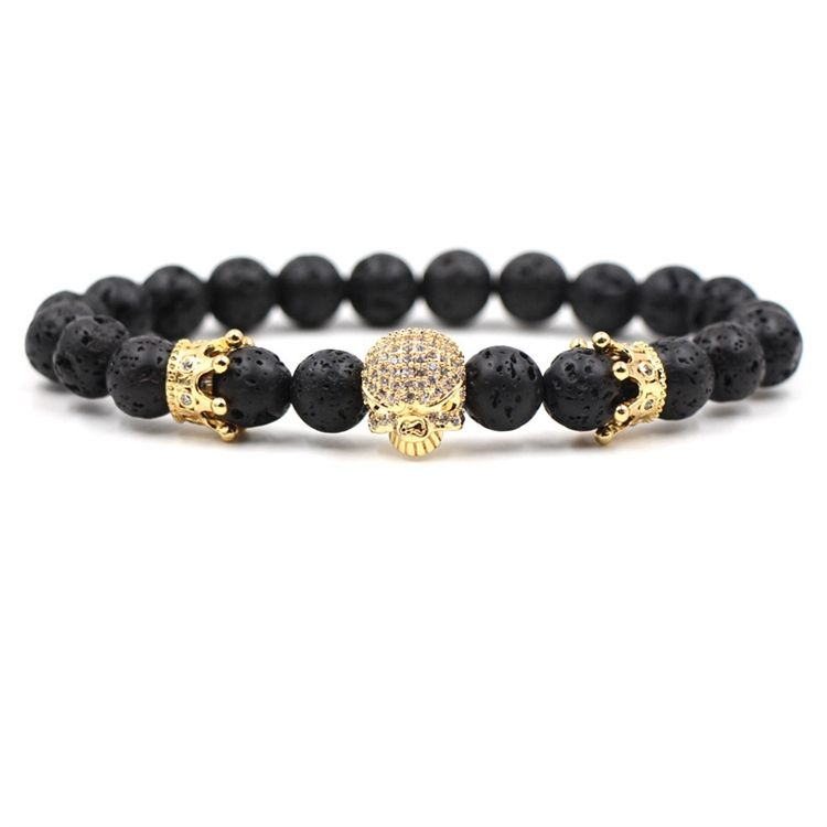 Fashion zircon inlaid head bone elastic bead bracelet black lava volcanic stone bracelet