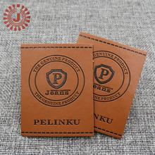 China suppliers high quality jeans brown pu leather label / tag / patch