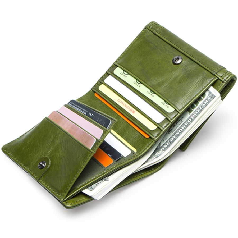 Contacts Brand Striped Design Gift Box Package Money Clip Coin Cards Holder Lady Purse Genuine Leather Women Wallet - Green